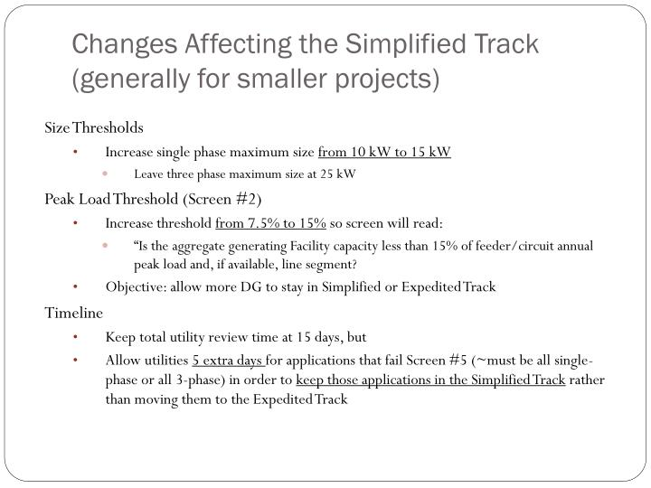 Changes Affecting the Simplified Track