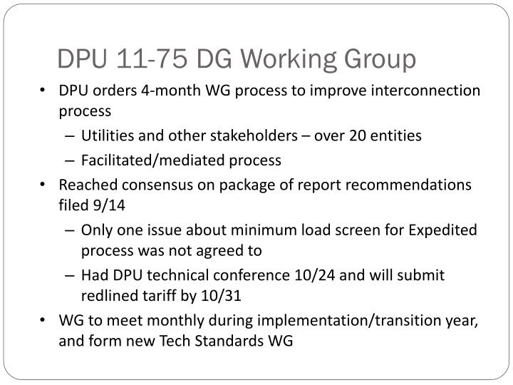 DPU 11-75 DG Working Group