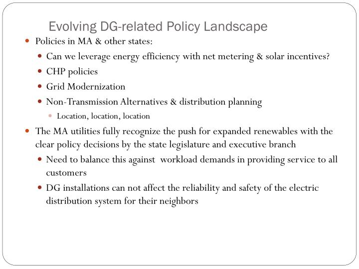 Evolving DG-related Policy Landscape