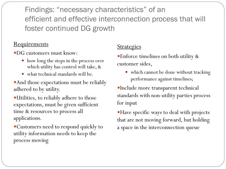 """Findings: """"necessary characteristics"""" of an"""