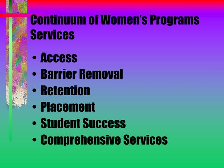 Continuum of Women's Programs Services
