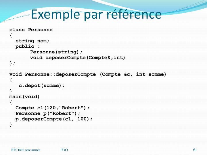 Exemple par référence