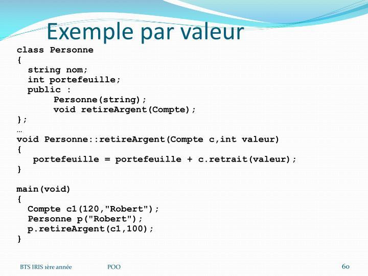 Exemple par valeur
