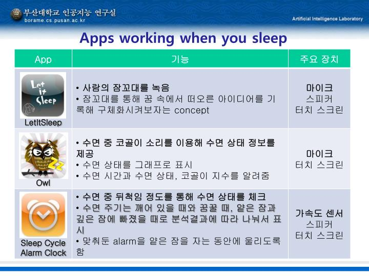 Apps working when you sleep