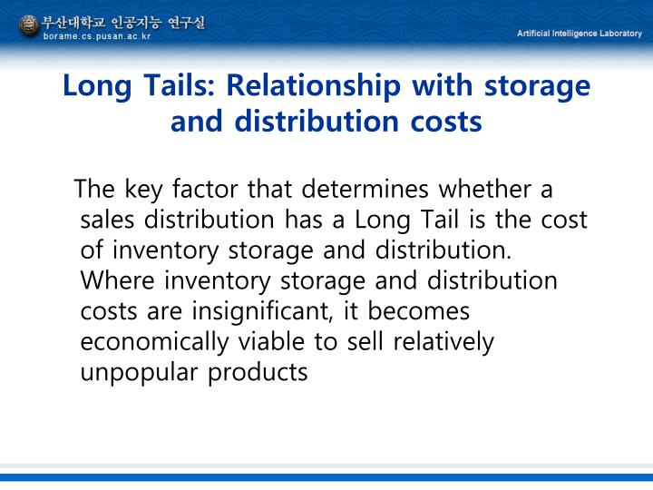Long Tails: Relationship with storage and distribution costs