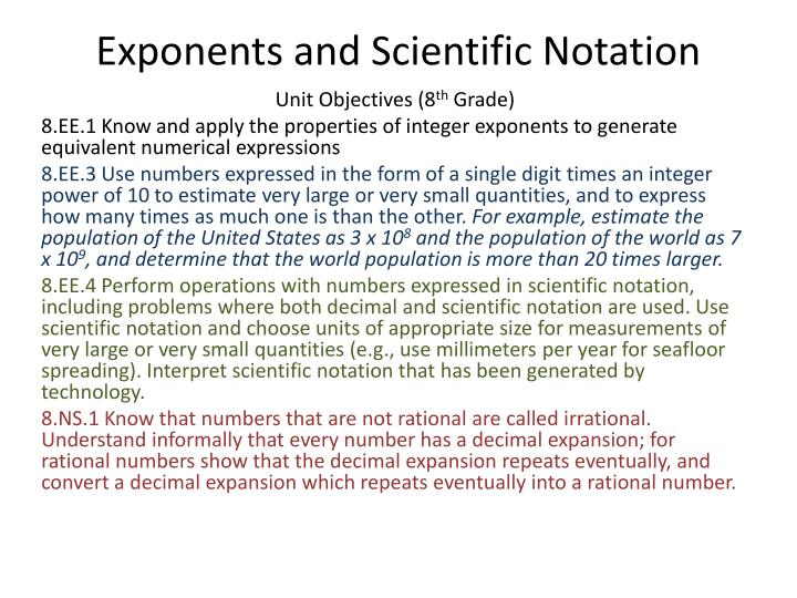exponents and scientific notation n.
