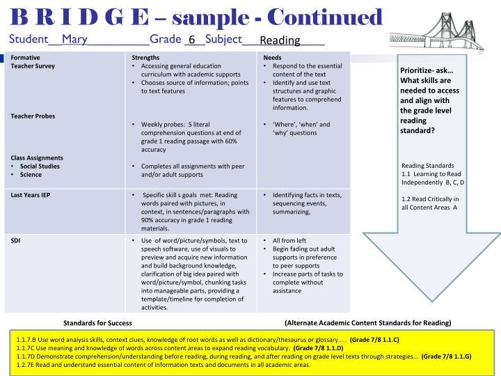B R I D G E – sample - Continued