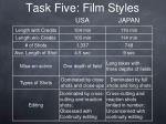 task five film styles