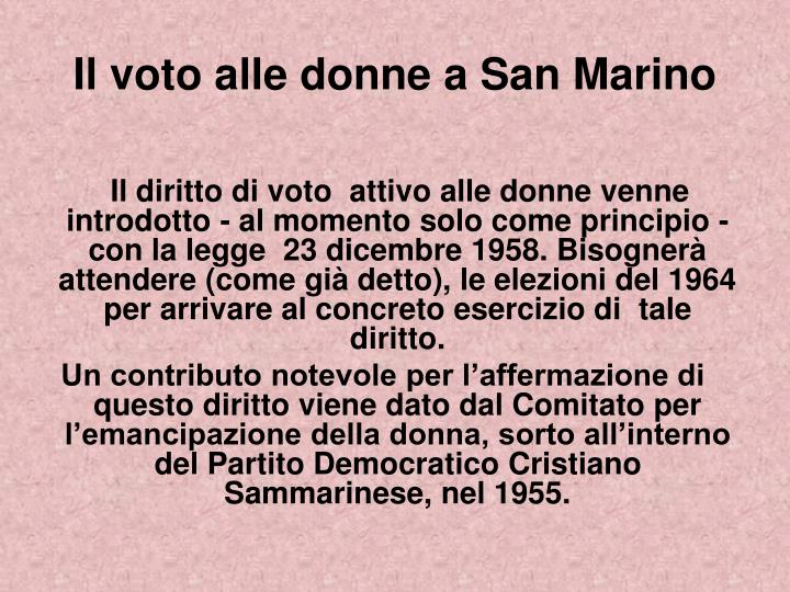 Il voto alle donne a San Marino
