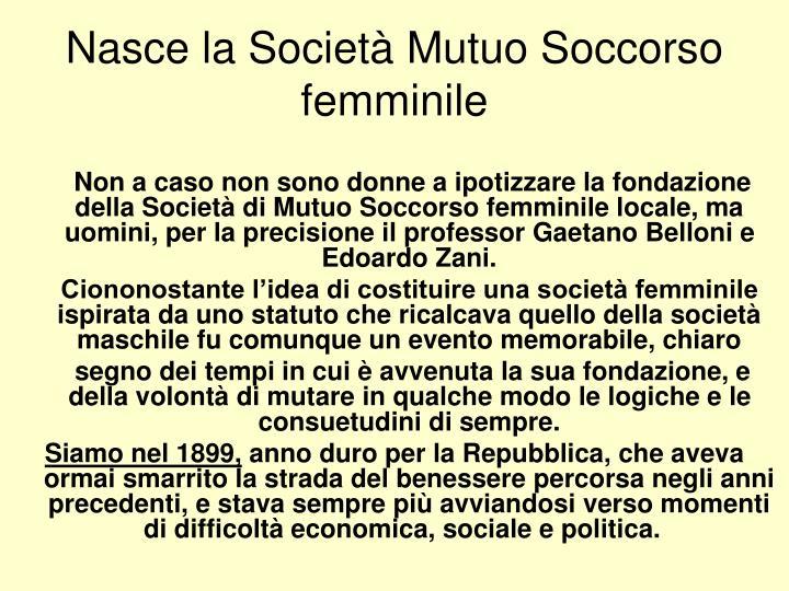 Nasce la Società Mutuo Soccorso femminile