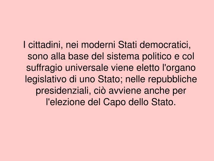 I cittadini, nei moderni Stati democratici, sono alla base del sistema politico e col suffragio univ...