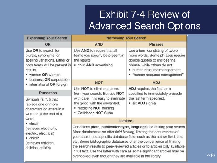 Exhibit 7-4 Review of Advanced Search Options