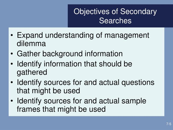 Objectives of Secondary Searches