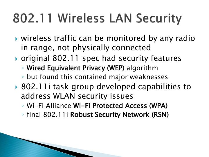 802.11 Wireless LAN Security