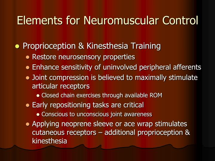 Elements for Neuromuscular Control