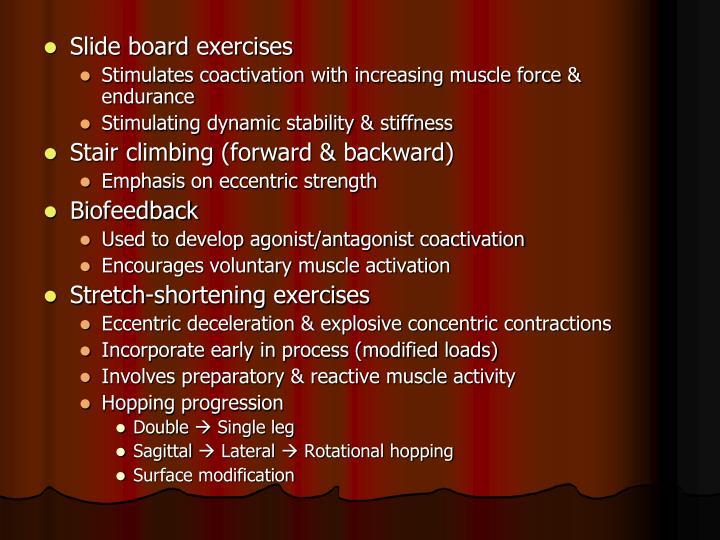 Slide board exercises
