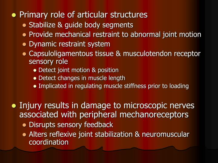 Primary role of articular structures