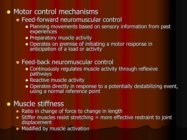 Motor control mechanisms