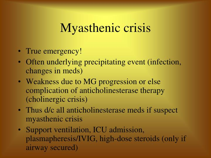 difference between myasthenic crisis and cholinergic crisis Neurology chapter 64 management of patients with neurologic infection, autoimmune disorders and neuropathies guillain-barre syndrome pathophysiology sudden attack.