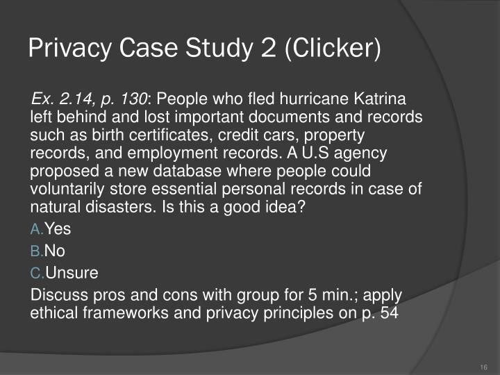 Privacy Case Study 2 (Clicker)
