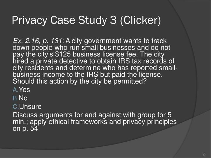 Privacy Case Study 3 (Clicker)