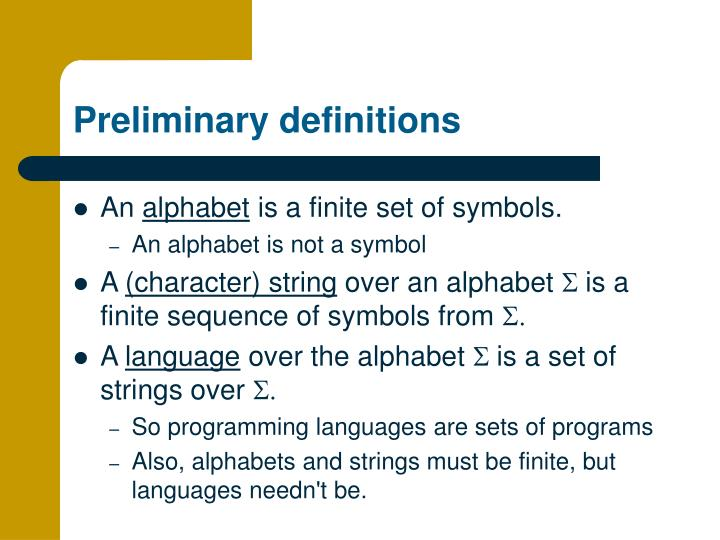preliminary definitions n.