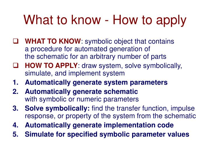 What to know - How to apply