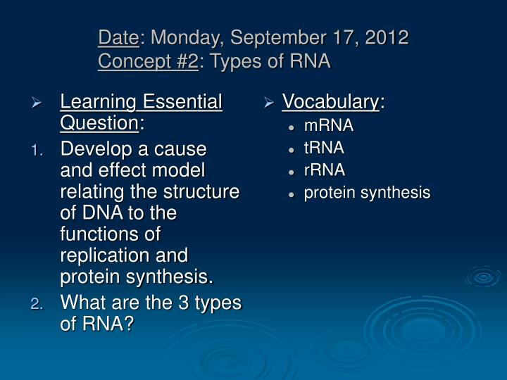 Date monday september 17 2012 concept 2 types of rna
