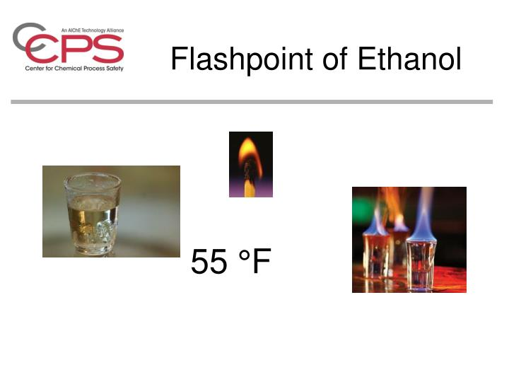 Flashpoint of ethanol