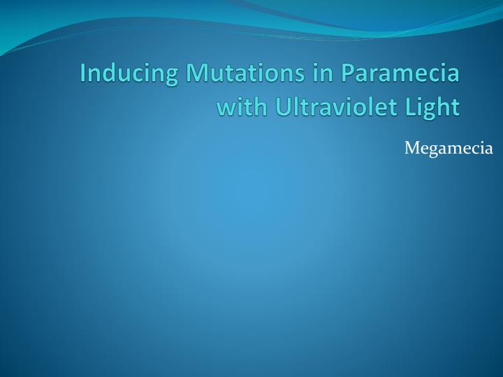 inducing mutations in paramecia with ultraviolet light n.