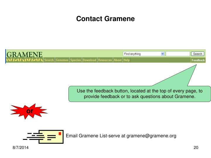 Contact Gramene