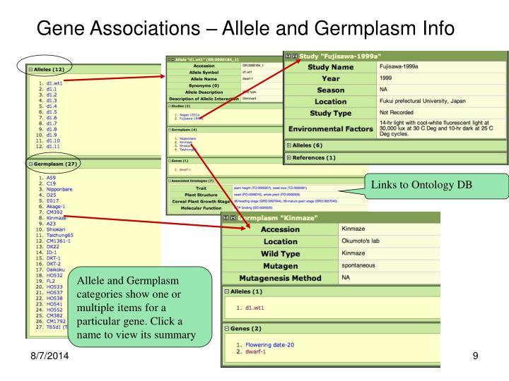 Gene Associations – Allele and Germplasm Info