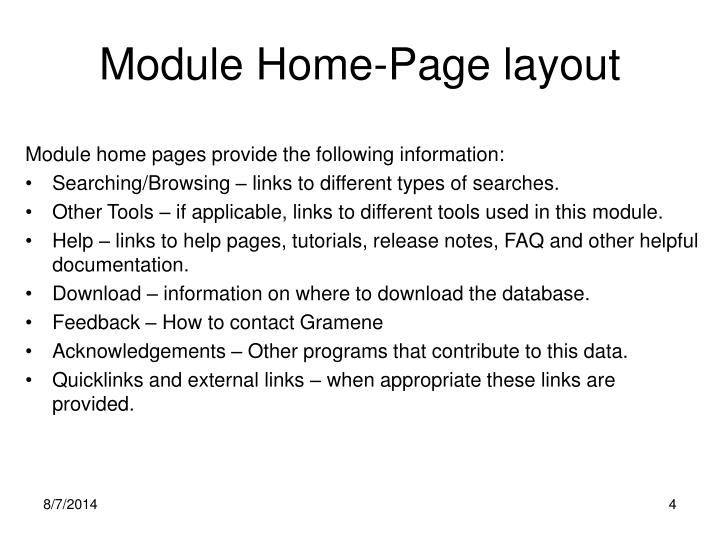 Module Home-Page layout