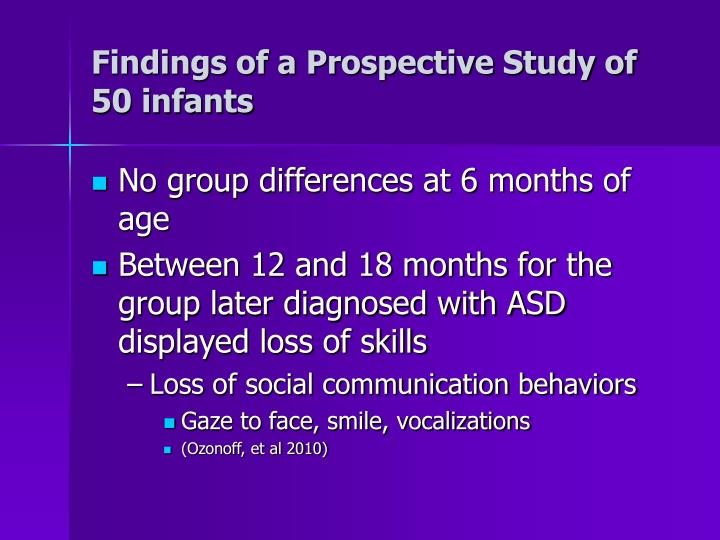 Findings of a Prospective Study of 50 infants