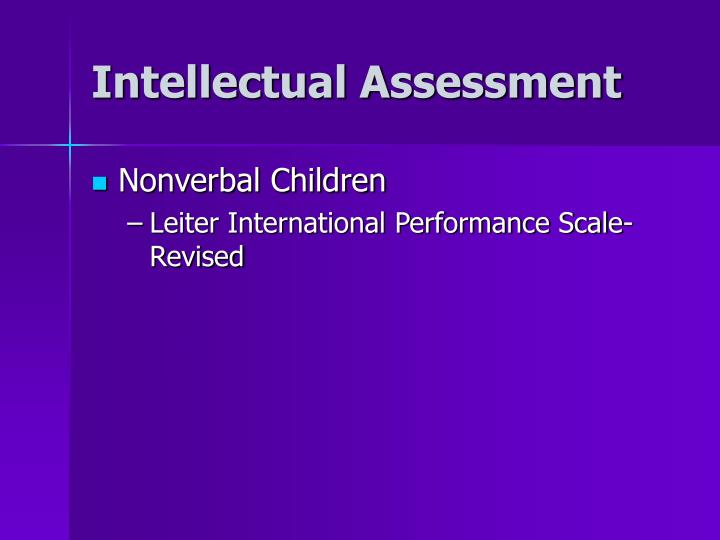 Intellectual Assessment