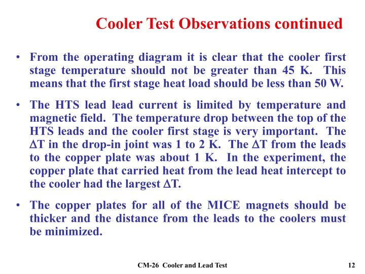 Cooler Test Observations continued