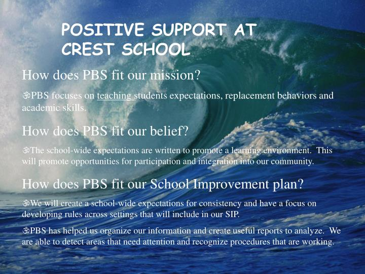 POSITIVE SUPPORT AT CREST SCHOOL