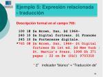 ejemplo 5 expresi n relacionada traducci n