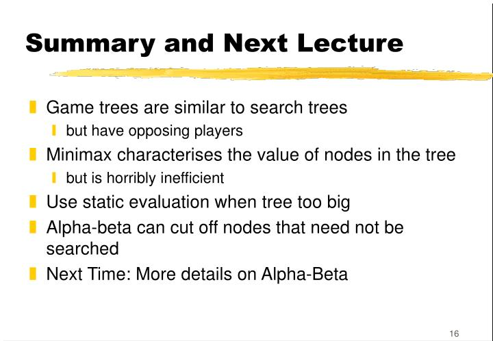 Summary and Next Lecture