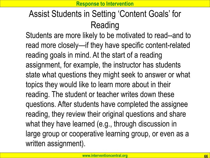 Assist Students in Setting 'Content Goals' for Reading