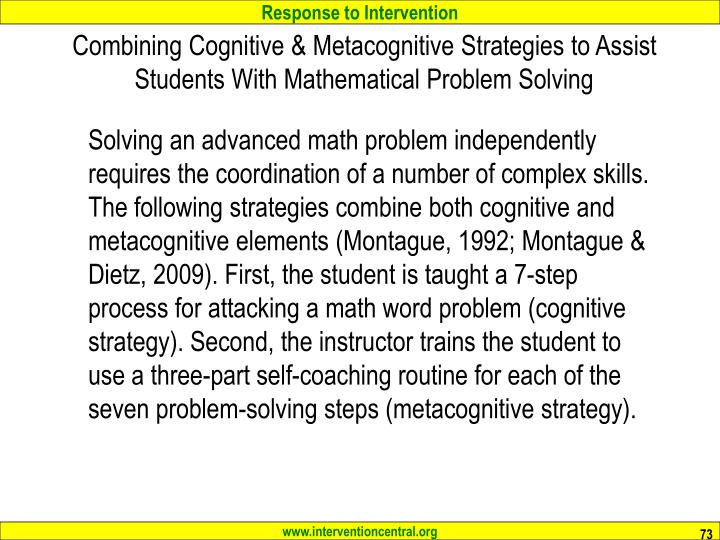 Combining Cognitive & Metacognitive Strategies to Assist Students With Mathematical Problem Solving