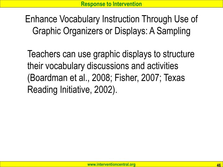 Enhance Vocabulary Instruction Through Use of Graphic Organizers or Displays: A Sampling