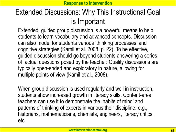 Extended Discussions: Why This Instructional Goal is Important