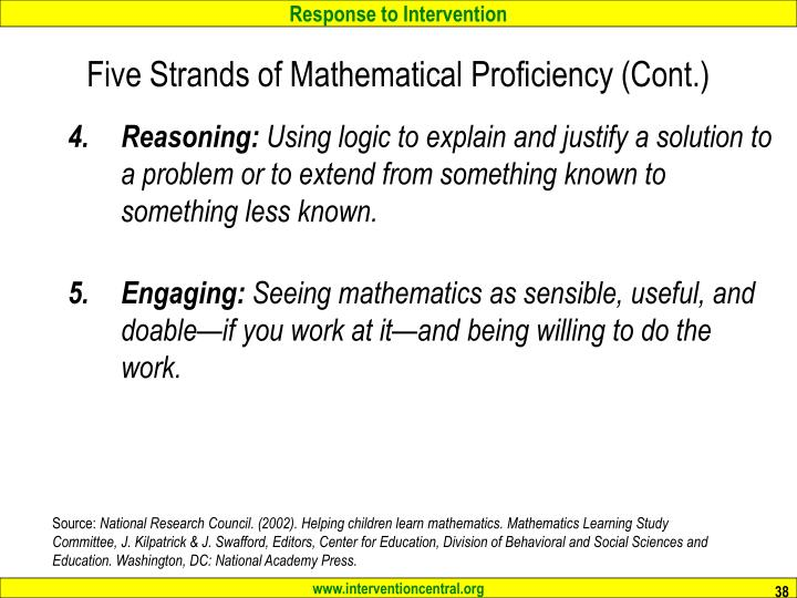 Five Strands of Mathematical Proficiency (Cont.)