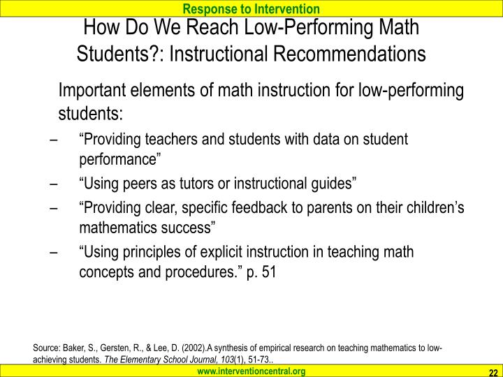 How Do We Reach Low-Performing Math Students?: Instructional Recommendations