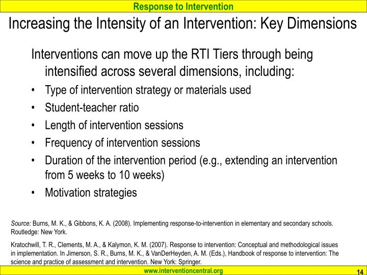 Increasing the Intensity of an Intervention: Key Dimensions