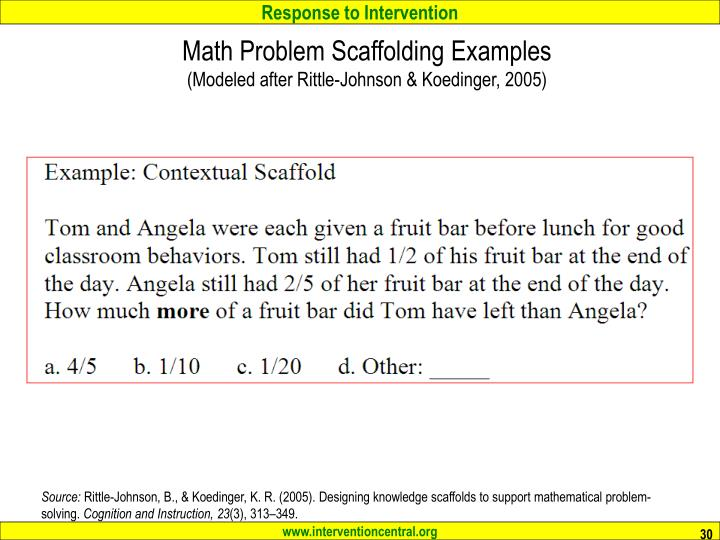 Math Problem Scaffolding Examples
