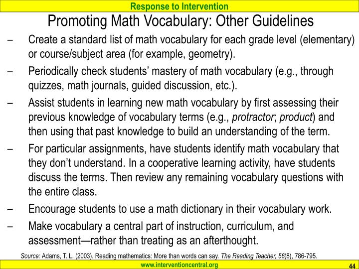 Promoting Math Vocabulary: Other Guidelines