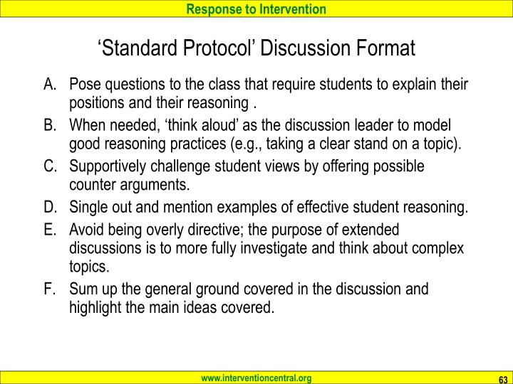 'Standard Protocol' Discussion Format