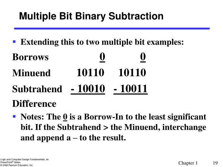 Multiple Bit Binary Subtraction